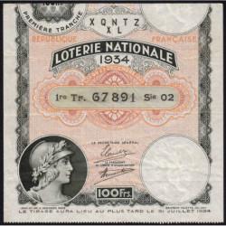 1934 - Loterie Nationale - 1e tranche - Etat : TB