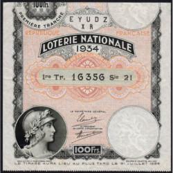 1934 - Loterie Nationale - 1e tranche - Etat : TTB