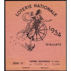 1934 - Loterie Nationale - 1e tranche - Carnet de 9 billets - Etat : SUP+