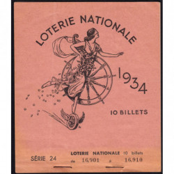 1934 - Loterie Nationale - 1e tranche - Carnet de 6 billets - Etat : SUP+