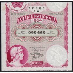 1934 - Loterie Nationale - 3e tranche - Etat : TTB+