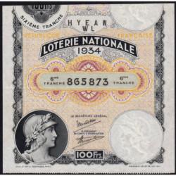 1934 - Loterie Nationale - 6e tranche - Etat : TTB+
