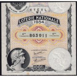 1934 - Loterie Nationale - 6e tranche - Etat : TB+