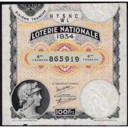 1934 - Loterie Nationale - 6e tranche - Etat : TTB
