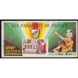 1962 - Loterie Nationale - 9e tranche - 1/10ème - Les Paralysés de France