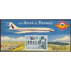 1962 - Loterie Nationale - 16e tranche - 1/10ème - Les Ailes de France