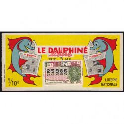 1962 - Loterie Nationale - 32e tranche - 1/10ème - Le Dauphiné libéré
