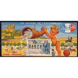 1962 - Loterie Nationale - 38e tranche - 1/10ème - Enfance