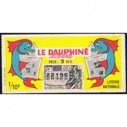 1962 - Loterie Nationale - 48e tranche - 1/10ème - Le Dauphiné libéré