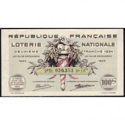 1934 - Loterie Nationale - 2e tranche - Etat : TTB