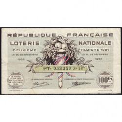 1934 - Loterie Nationale - 2e tranche - Etat : TB