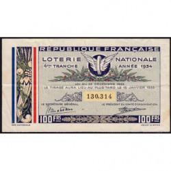 1934 - Loterie Nationale - 4e tranche - Etat : TTB