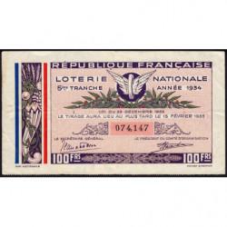 1934 - Loterie Nationale - 5e tranche - Etat : TB