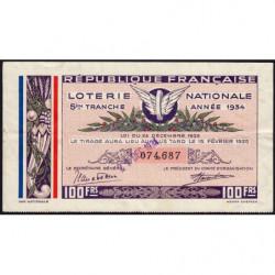 1934 - Loterie Nationale - 5e tranche - Etat : TTB