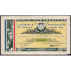 1934 - Loterie Nationale - 7e tranche - Etat : TB+
