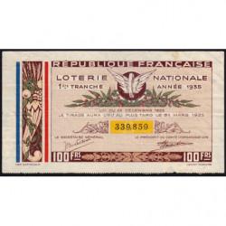 1935 - Loterie Nationale - 1e tranche - Etat : TB+