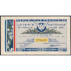 1935 - Loterie Nationale - 2e tranche - Etat : TTB