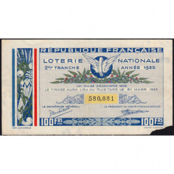 1935 - Loterie Nationale - 2e tranche - Etat : TB-
