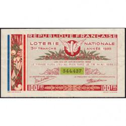 1935 - Loterie Nationale - 3e tranche - Etat : TTB