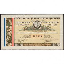 1935 - Loterie Nationale - 4e tranche - Etat : TTB