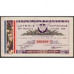 1935 - Loterie Nationale - 5e tranche - Etat : TTB+