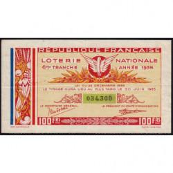 1935 - Loterie Nationale - 6e tranche - Etat : TTB+