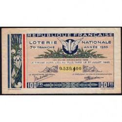 1935 - Loterie Nationale - 7e tranche - Etat : TB