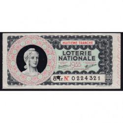 1935 - Loterie Nationale - 8e tranche - Etat : TB+