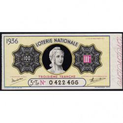 1936 - Loterie Nationale - 3e tranche - Etat : TTB