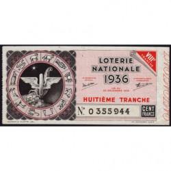 1936 - Loterie Nationale - 8e tranche - Etat : TTB