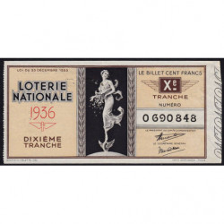 1936 - Loterie Nationale - 10e tranche - Etat : TTB