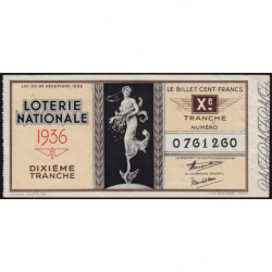 1936 - Loterie Nationale - 10e tranche - Etat : TB