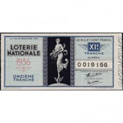 1936 - Loterie Nationale - 11e tranche - Etat : TTB