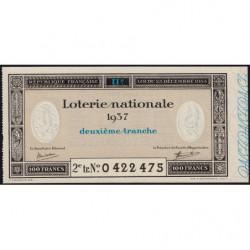 1937 - Loterie Nationale - 2e tranche - Etat : SPL