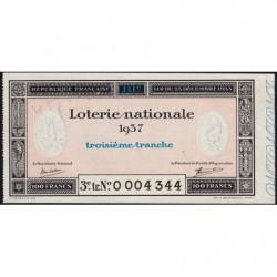 1937 - Loterie Nationale - 3e tranche - Etat : SUP