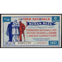 1937 - Loterie Nationale - 6e tranche - 1/10ème - Ruban bleu - Etat : SUP