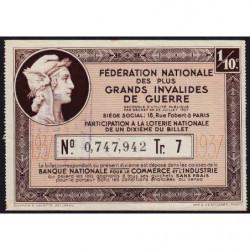 1937 - Loterie Nationale - 7e tranche - 1/10ème - Invalides de guerre - Etat : TTB+