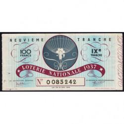 1937 - Loterie Nationale - 9e tranche - Etat : TTB