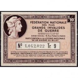 1937 - Loterie Nationale - 9e tranche - 1/10ème - Invalides de guerre - Etat : SUP