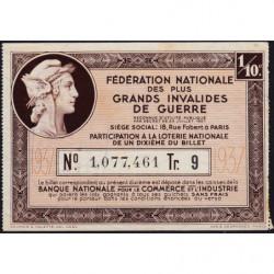 1937 - Loterie Nationale - 9e tranche - 1/10ème - Invalides de guerre - Etat : TTB