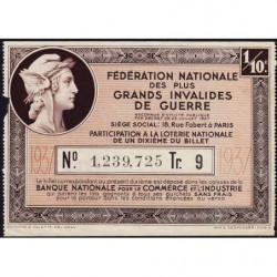 1937 - Loterie Nationale - 9e tranche - 1/10ème - Invalides de guerre - Etat : TB