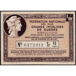 1937 - Loterie Nationale - 10e tranche - 1/10ème - Invalides de guerre - Etat : TB+