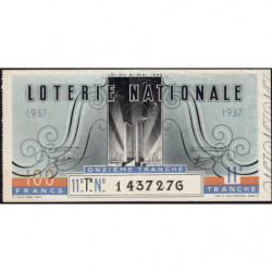 1937 - Loterie Nationale - 11e tranche - Etat : TTB