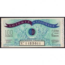 1938 - Loterie Nationale - 2e tranche - Etat : TB+