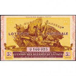 1938 - Loterie Nationale - 3e tranche - 1/10ème - Gueules cassées - Etat : TTB