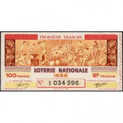 1938 - Loterie Nationale - 3e tranche - Etat : TTB