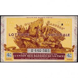 1938 - Loterie Nationale - 4e tranche - 1/10ème - Gueules cassées - Etat : TTB