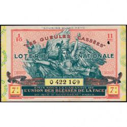 1938 - Loterie Nationale - 7e tranche - 1/10ème - Gueules cassées - Etat : TTB