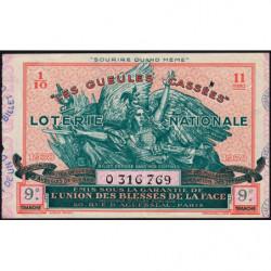 1938 - Loterie Nationale - 9e tranche - 1/10ème - Gueules cassées - Etat : TTB