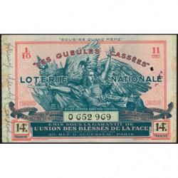 1938 - Loterie Nationale - 14e tranche - 1/10ème - Gueules cassées - Etat : TTB